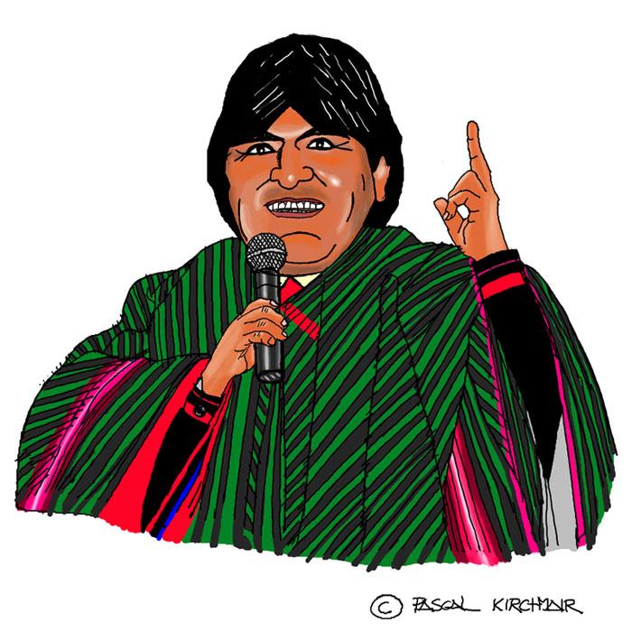 Evo Morales Präsident president bolivia Bolivien cartoon caricature Karikatur