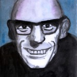 Michel Foucault portrait caricature Karikatur dessin peinture Aquarell philosophe