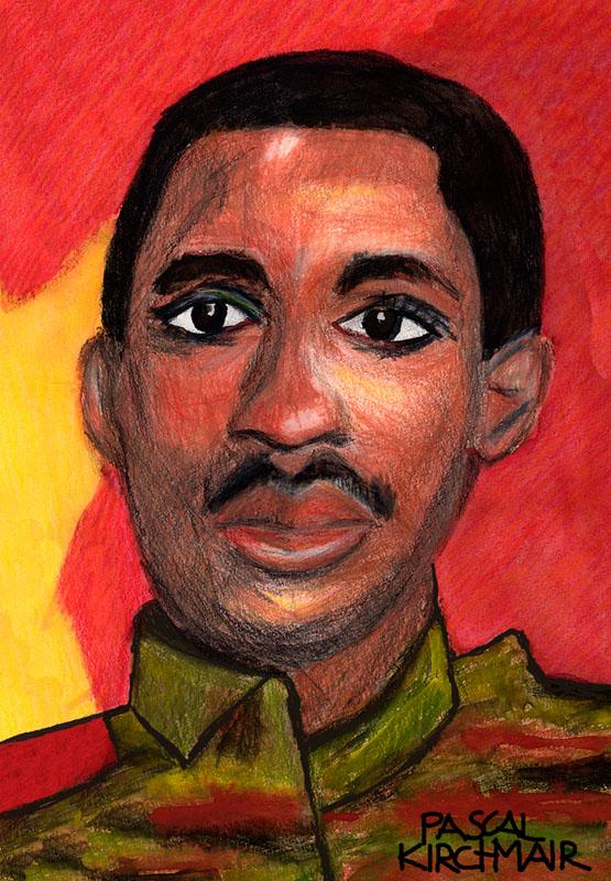 Thomas Sankara caricature cartoon Karikatur peinture aquarell portrait Burkina Faso