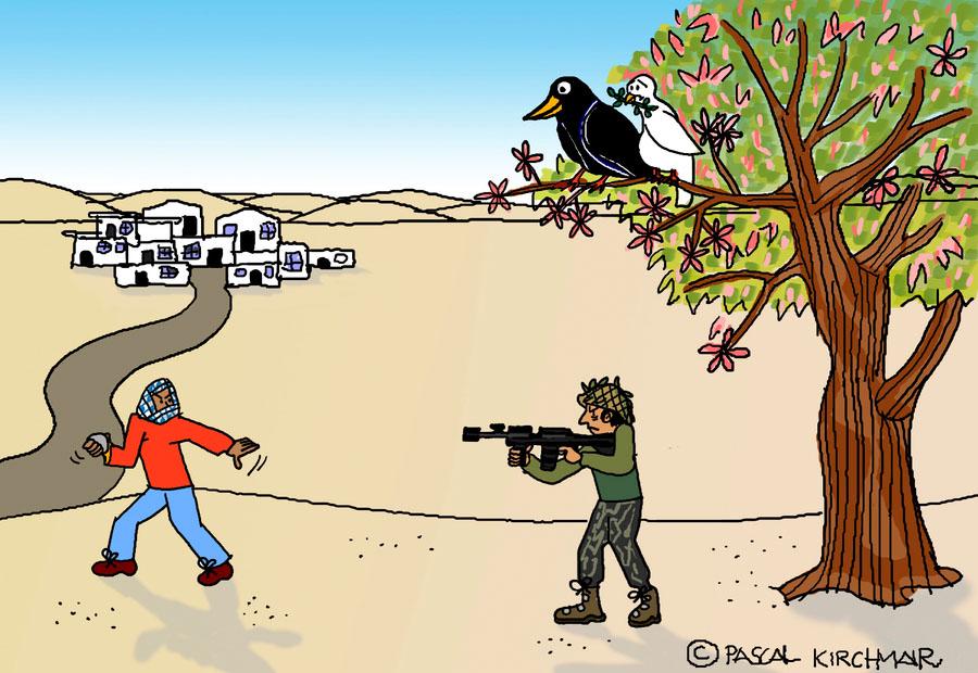 crow krähe cartoon Antagonisten Karikatur caricature Intifada Israel