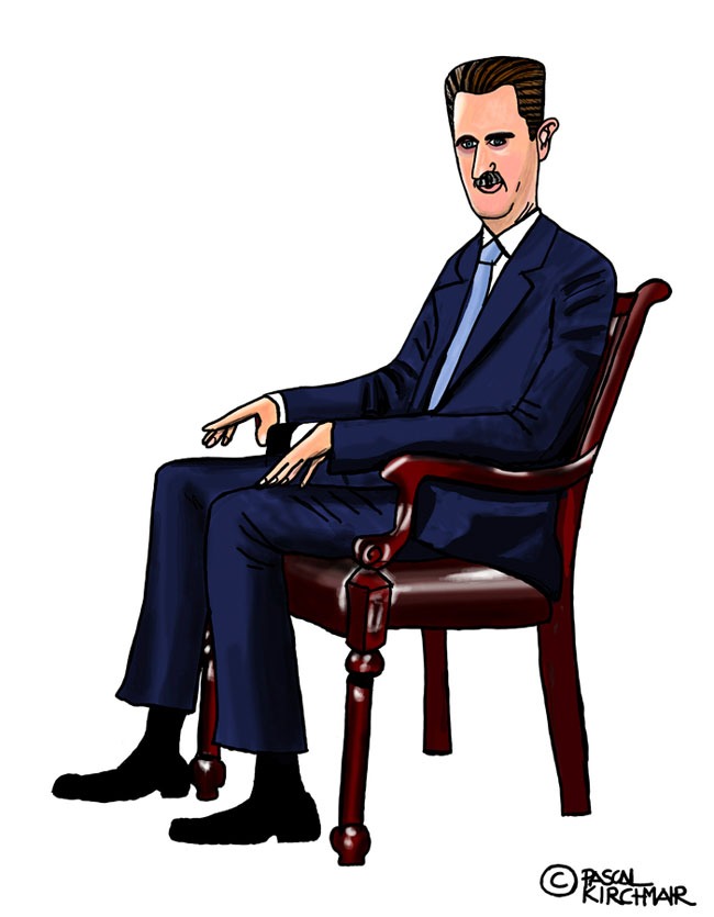 Baschar al-Assad Karikatur caricature Portrait vignetta