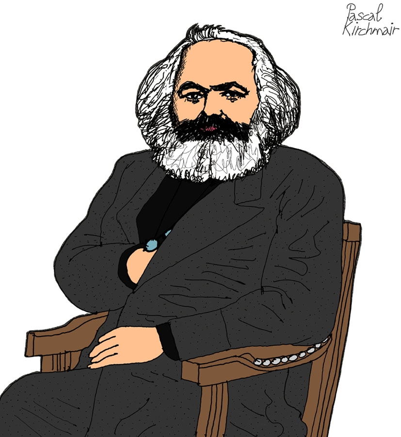 Karl Marx, né le 5 mai 1818 à Trèves en Rhénanie et mort le 14 mars 1883 à Londres, est un historien, journaliste, philosophe, sociologue, économiste, essayiste, théoricien de la révolution, socialiste et communiste allemand.